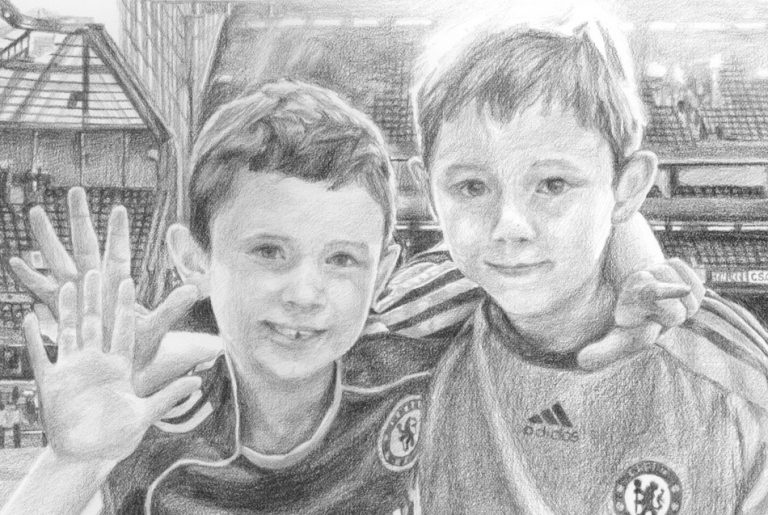 pencil portrait drawing of two boys in detail