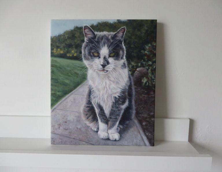 cat portrait painting on canvas