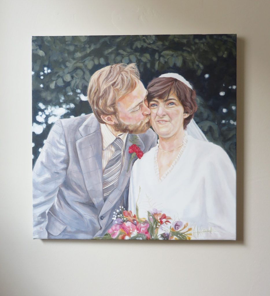 wedding portrait painting on canvas