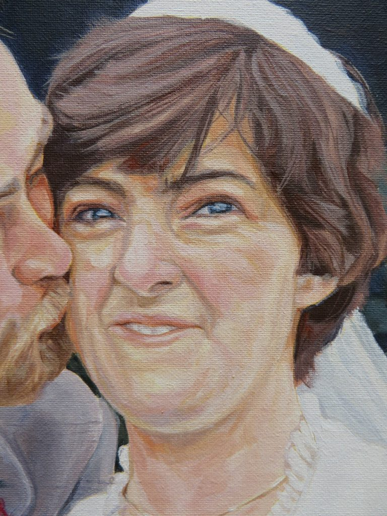 acrylic portrait painting in close up view