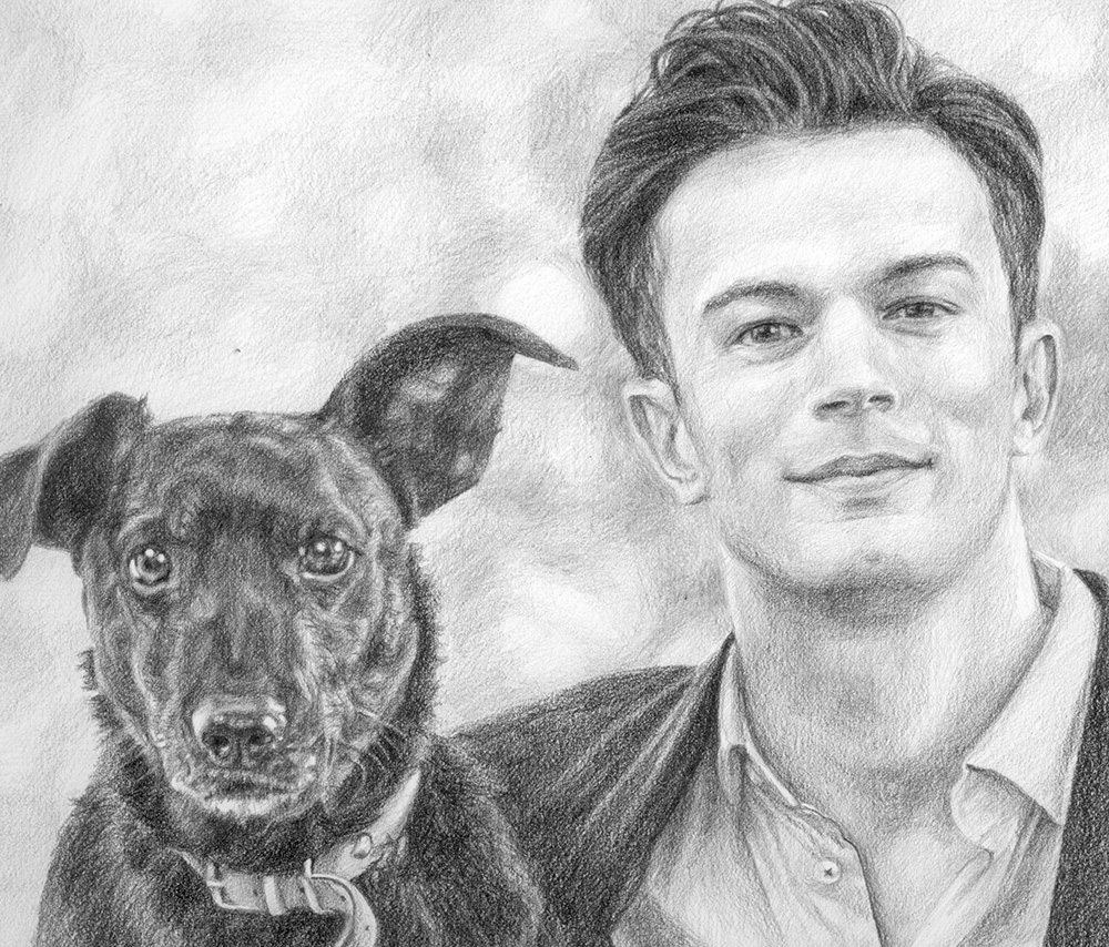 man and dog portrait drawing detail