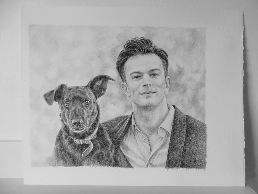 dog and owner portrait sketch