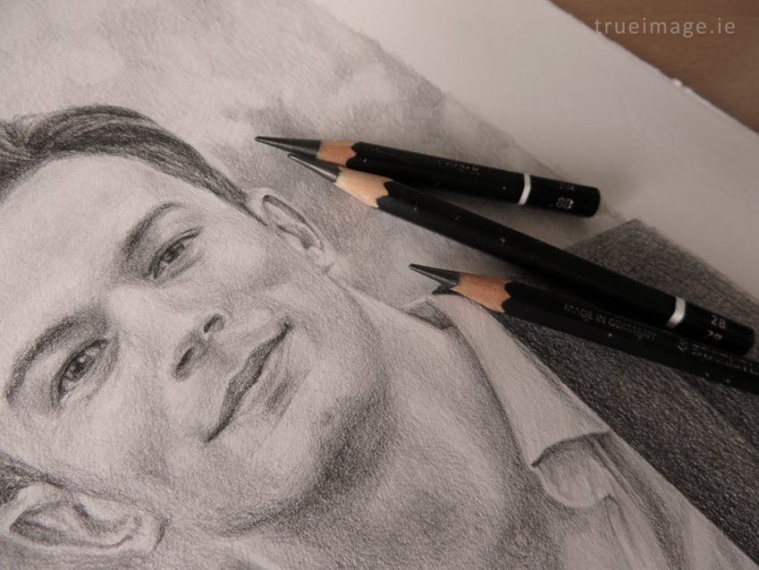 finished portrait drawing with pencils