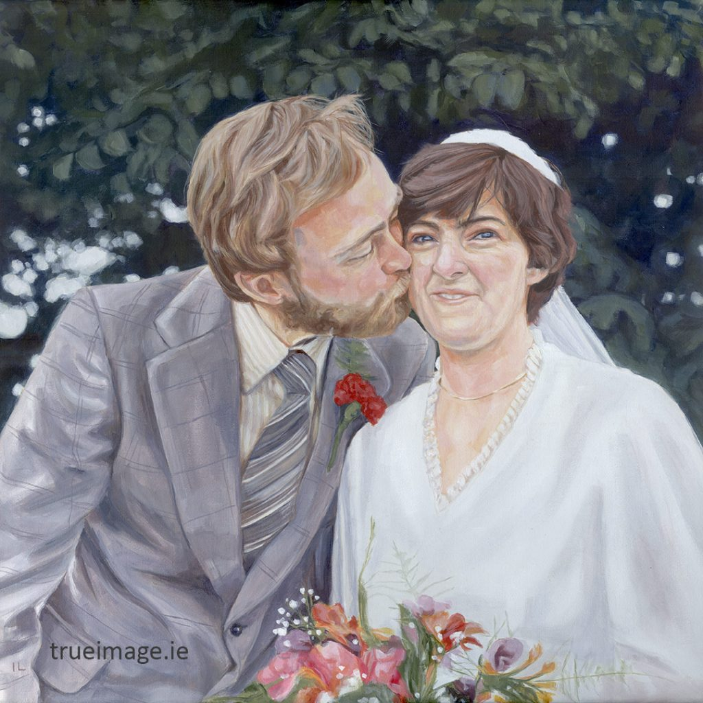 acrylic portrait painting of a wedding couple