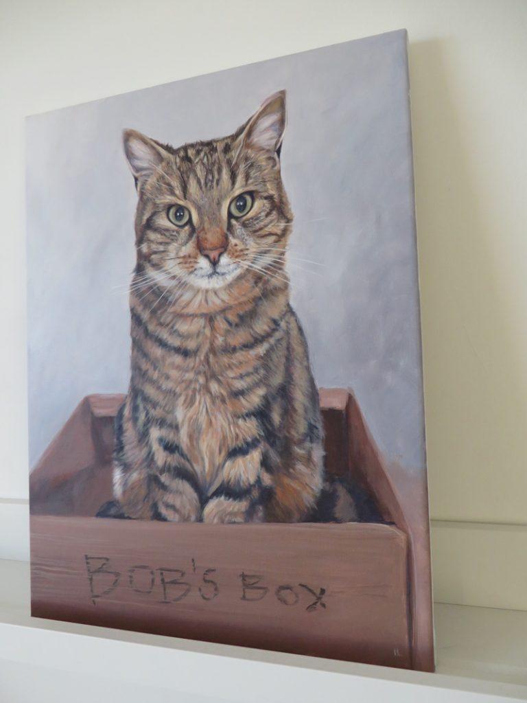 cat portrait painting canvas detail