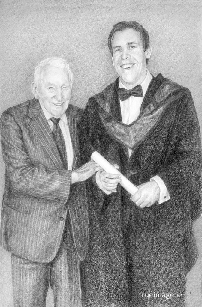 pencil portrait drawing of a father and son