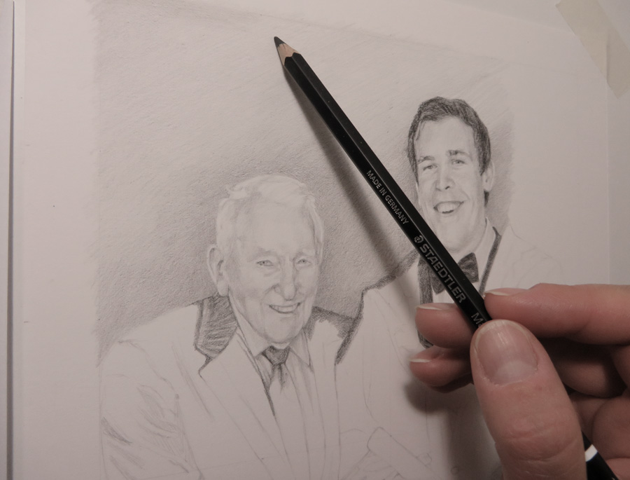 progress sketch of a father and son
