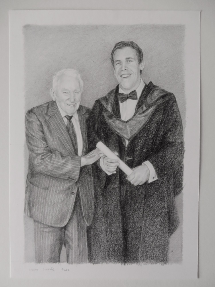 father and son pencil portrait