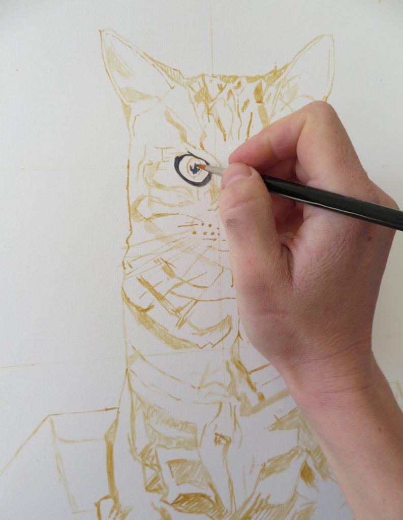 work in progress cat painting