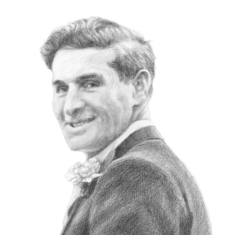 detail of a pencil sketch of a man