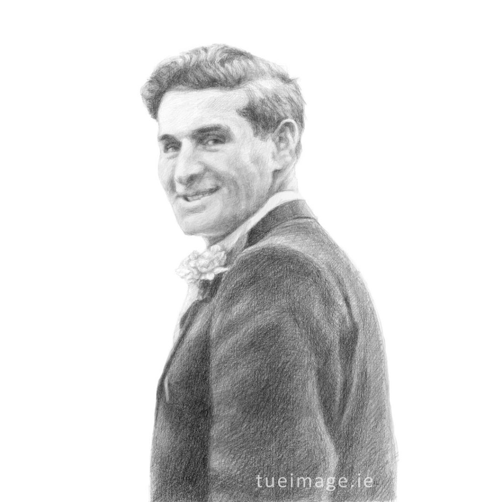 drawing of a man smiling over his shoulder