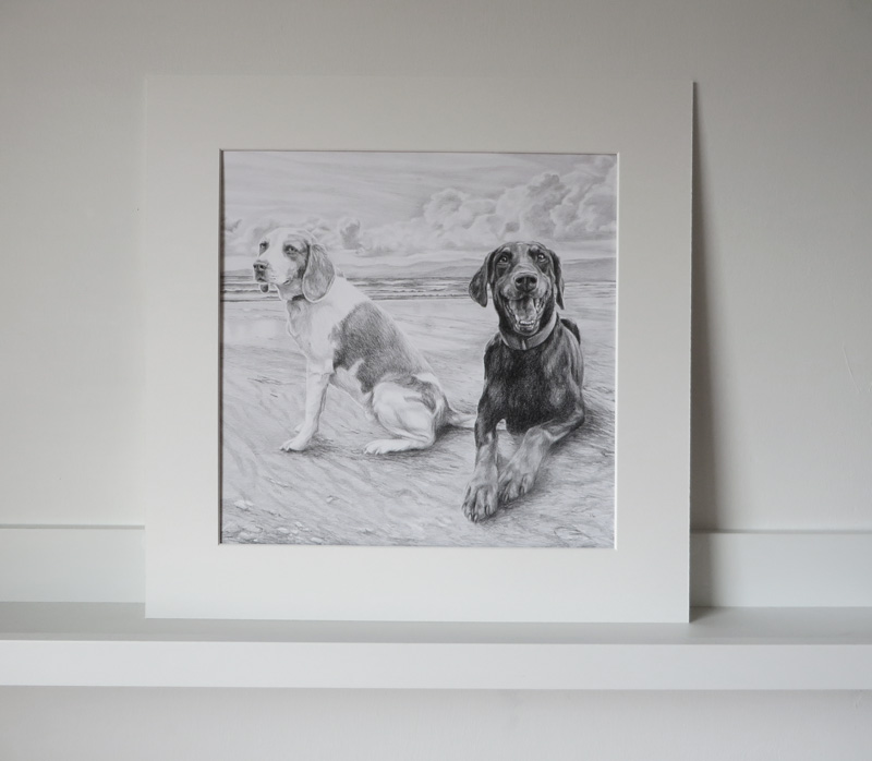 beagle and doberman dog portrait in a mount