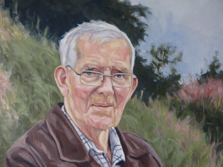 acrylic painting of an elderly man sitting in a chair in nature