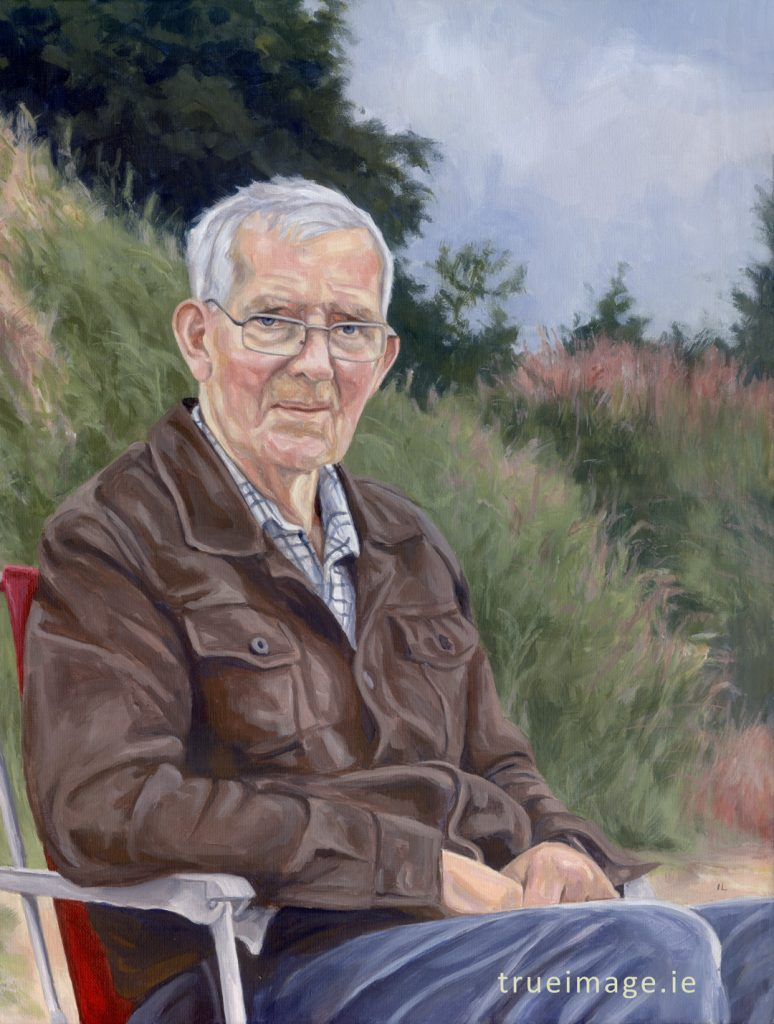 acrylic portrait painting of an elderly man sitting in a chair outdoors