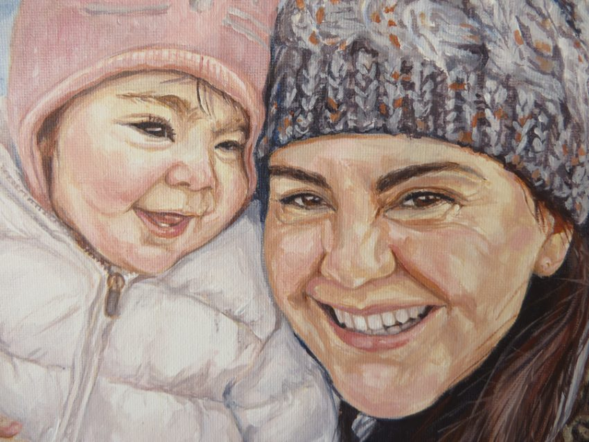 mother and baby portrait detail